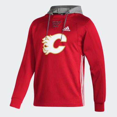 Men Hockey Red Flames Skate Lace Hoodie