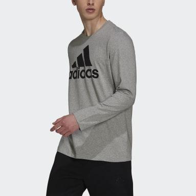 Men Sport Inspired Grey Essentials Long Sleeve Tee