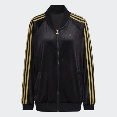 Women's Originals Black Track Jacket in Velvet with Embossed adidas Originals Monogram
