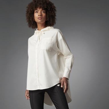 Women Originals White Blue Version Oversize Long-sleeve Top