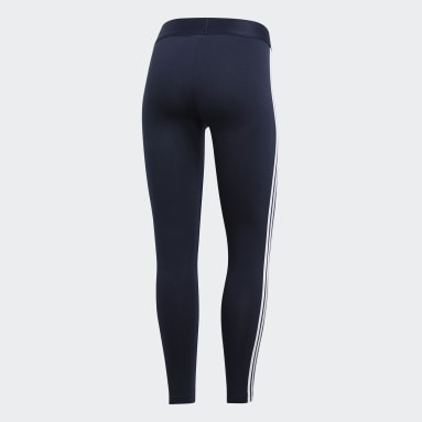 Calzas Essentials 3 Tiras - Tiro Bajo Azul Mujer Diseño Deportivo