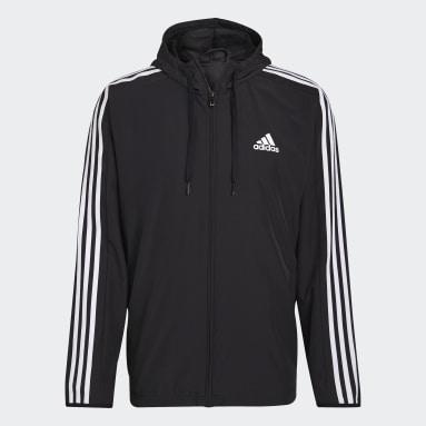Men Sport Inspired Black Essentials Woven 3-Stripes Windbreaker