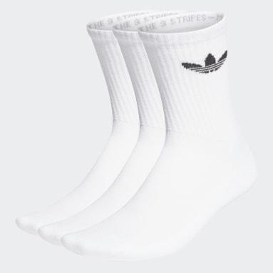 Originals White Cushioned Trefoil Mid-Cut Crew Socks 3 Pairs
