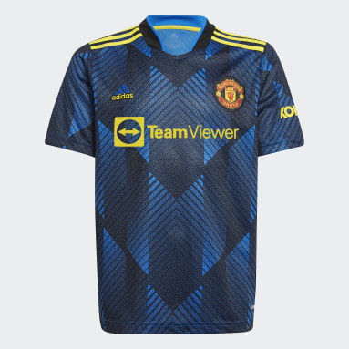 Jungen Fußball Manchester United 21/22 Ausweichtrikot Blau