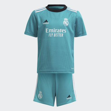 Miniterceiro Equipamento 21/22 do Real Madrid Turquesa Criança Futebol
