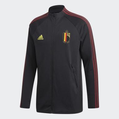 Men Football Black Belgium Anthem Jacket