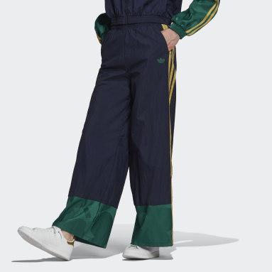 Women Originals Blue Marimekko Wide-Leg Track Pants with Jacquard Panel