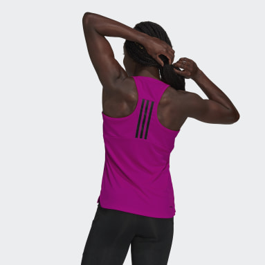Women Running Pink Designed to Move 3-Stripes Sport Tank Top