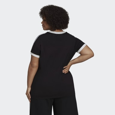 Women's Originals Black Adicolor Classics 3-Stripes Tee (Plus Size)
