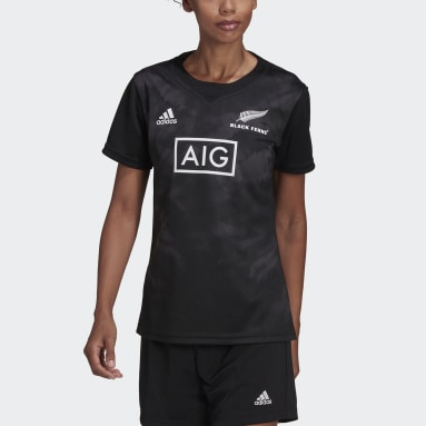 Dames Rugby Zwart Black Ferns Rugby Primeblue Replica Thuisshirt