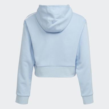 Sweat-shirt à capuche HER Studio London Animal Flower Print Crop Bleu Filles Originals