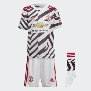 Kids 4-8 Years Football White Manchester United 20/21 Third Mini Kit