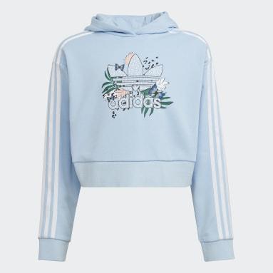 Girls Originals Blue HER Studio London Animal Flower Print Crop Hoodie