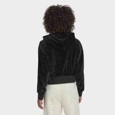 Women Originals Black Cropped Hoodie in Cozy Velour Mélange