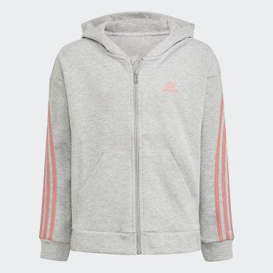 Girls Gym & Training Grey 3-Stripes Full-Zip Hoodie