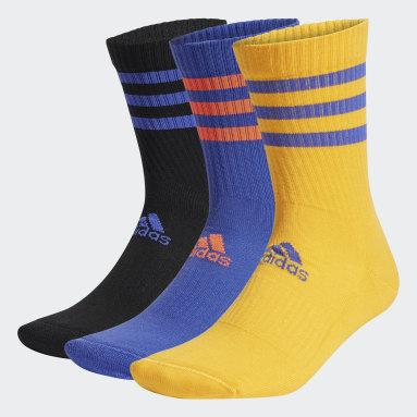 Running 3-Streifen Cushioned Sport Crew Socken, 3 Paar Schwarz