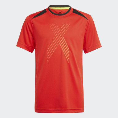 Youth 8-16 Years Gym & Training Red AEROREADY X Football-Inspired T-Shirt