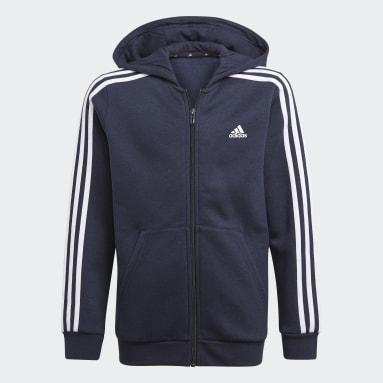 Boys Lifestyle Blue Essentials 3-Stripes Hoodie