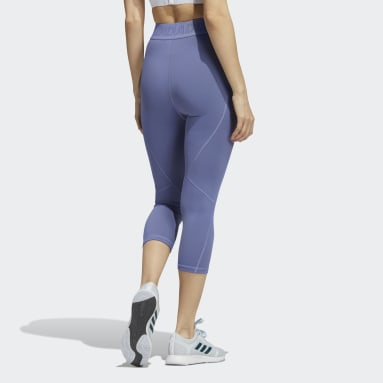 Women Running Purple Techfit 3/4 Leggings