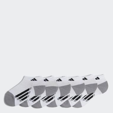 Youth Running White Vertical Stripe Low Cut Socks 6 Pairs