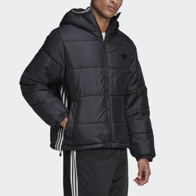 Men Originals Black Padded Hooded Puffer Jacket