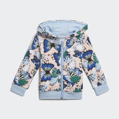Girls Originals Pink HER Studio London Animal Flower Print Full-Zip Hoodie Set