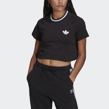 Women Originals Black Crop Top Rib Tee