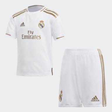 Miniconjunto Uniforme Local Real Madrid (UNISEX) Blanco Niño Fútbol