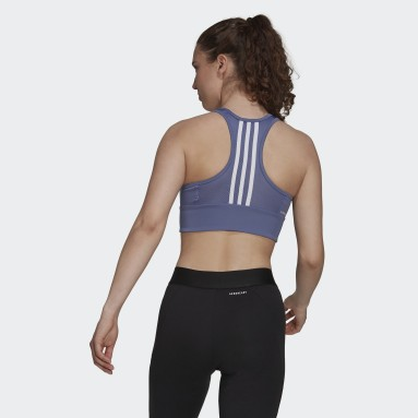Top Cropped AEROREADY Designed to Move 3-Stripes Padded Sports Roxo Mulher Training