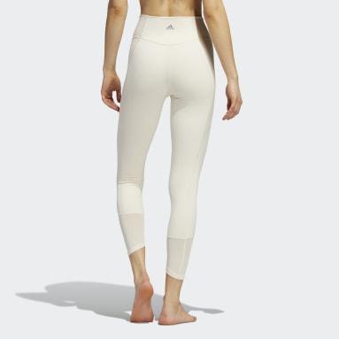 Leggings 7/8 em Rede para Ioga Branco Mulher Estúdio