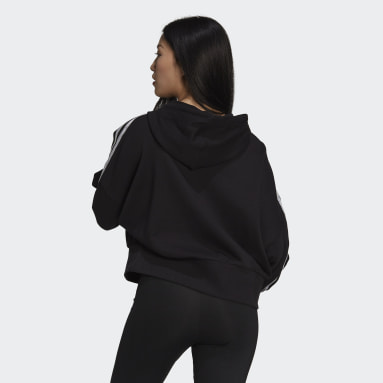 Women Originals Black Adicolor Classics Satin Tape Cropped Hoodie