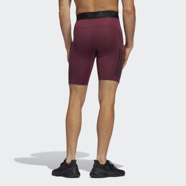 Mænd Fitness Og Træning Burgundy Techfit 3-Stripes korte tights