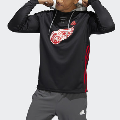 Men's Hockey Black Red Wings Skate Lace Hoodie