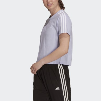 Women Sport Inspired Purple Essentials Loose 3-Stripes Cropped Tee
