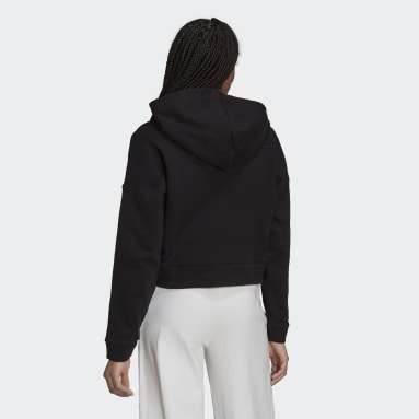 Cropped Full-Zip Hoodie with Sporty Cut Line and Colored Contrast Stripes Svart