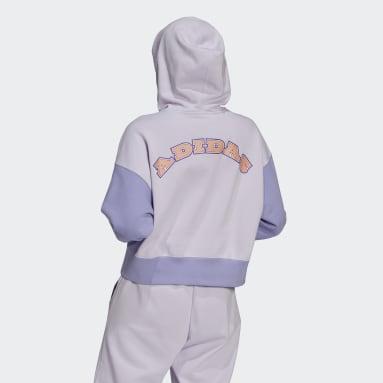 Sweat-shirt à capuche Logo Play Cropped Violet Femmes Originals