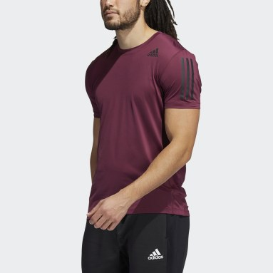 Heren Fitness En Training rood Techfit 3-Stripes Fitted T-shirt