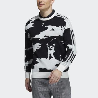 Men Golf Black Long Sleeve Crewneck Graphic Sweater