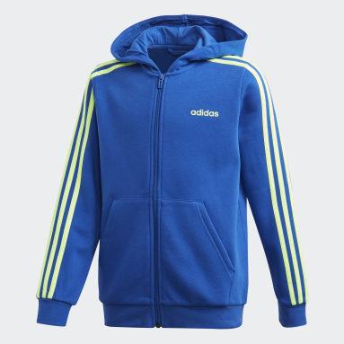 Youth 8-16 Years Gym & Training Blue Essentials 3-Stripes Hoodie