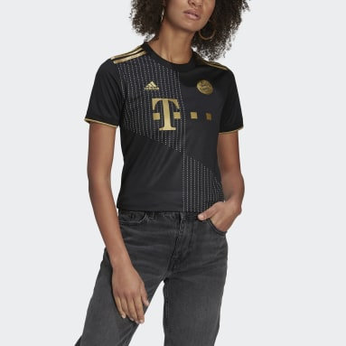 Kvinder Fodbold Sort FC Bayern 21/22 udebanetrøje