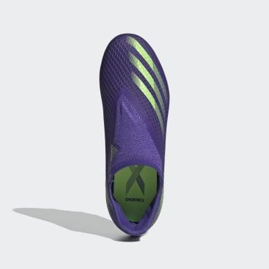 Zapatos de fútbol Sin Cordones X Ghosted.3 Terreno Firme Morado Niño Fútbol