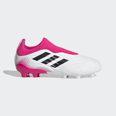 Kids Football White Copa Sense.3 Laceless Firm Ground Boots