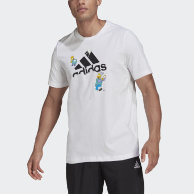 Men Sport Inspired White adidas x The Simpsons Snowball Fight Graphic Tee
