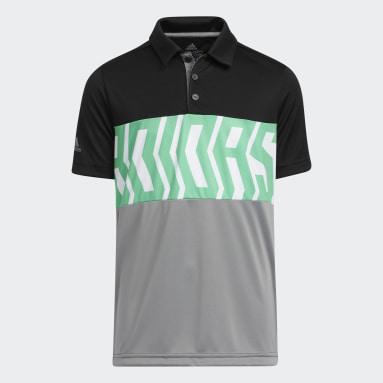 Polo Printed Colorblock Negro Niño Golf