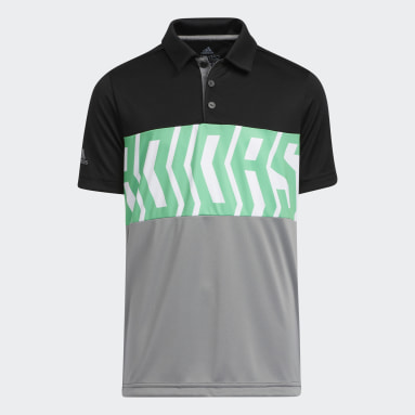 Boys Golf Black Print Colorblock Polo Shirt
