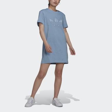Frauen Originals Trefoil Application T-Shirt-Kleid Blau