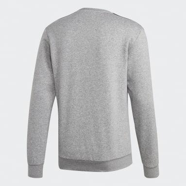 Sweat-shirt Essentials 3-Stripes Gris Hommes Fitness Et Training