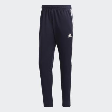 Calça AEROREADY Sereno Slim Tapered Cut 3-Stripes Azul Homem Futebol