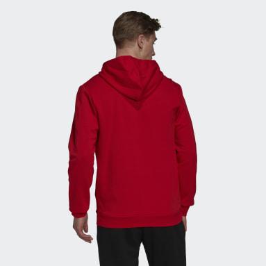 Men Sport Inspired Red Essentials Fleece Hoodie