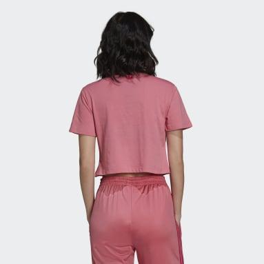 Women Originals Pink Crop Top with Trefoil Graphic